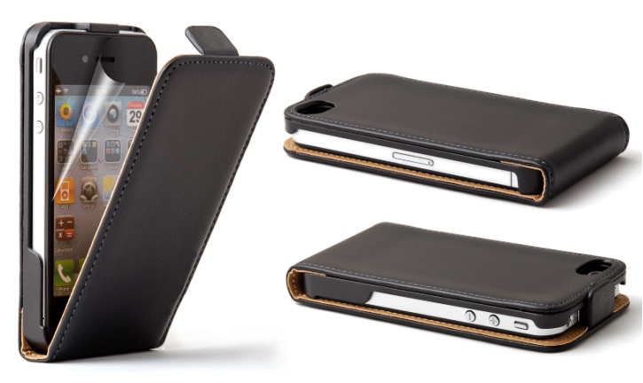 Real Genuine Leather Flip Case Cover Various Colours for Apple iPhone